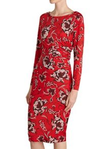 Black, red and white ruched print dress