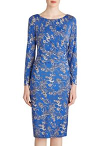 Gina Bacconi Blue with floral print boat neck dress