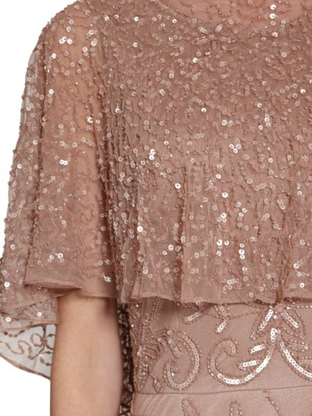 Gina Bacconi Beaded mesh dress with cape