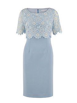 Crepe dress and attached organza overtop