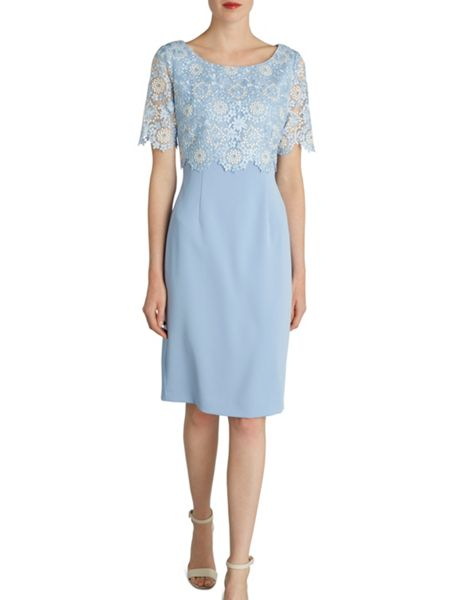 Gina Bacconi Crepe dress and attached organza overtop