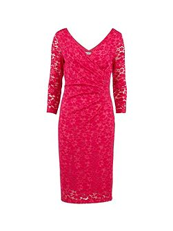 Stretch lace ruched dress