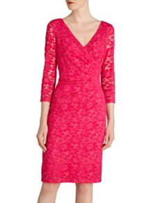 Gina Bacconi Stretch lace ruched dress