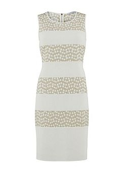 Flower embroidered contrast band dress
