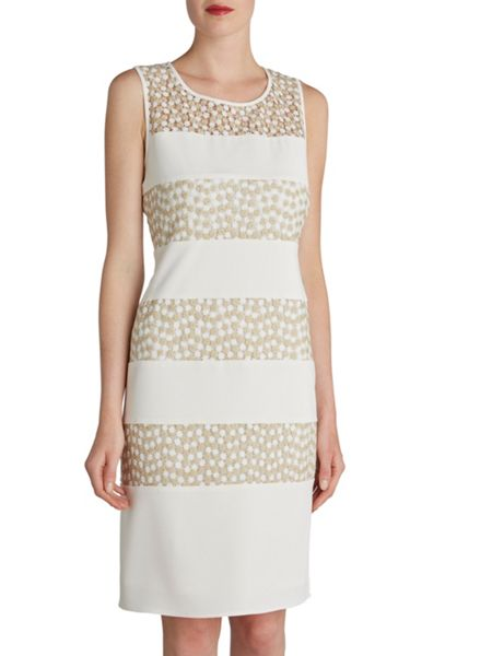 Gina Bacconi Flower embroidered contrast band dress