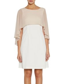 Gina Bacconi Crepe dress with attached chiffon cape