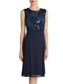 Gina Bacconi 2 tone navy sequin and chiffon dress
