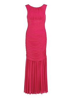 Long ruched dress in stretch mesh