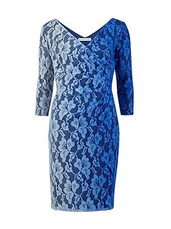 Ombre stretch lace ruched wrap dress