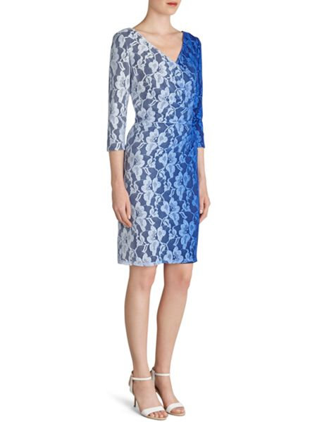 Gina Bacconi Ombre stretch lace ruched wrap dress