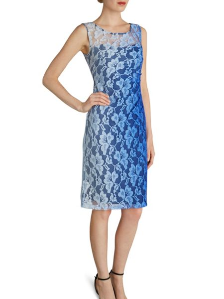 Gina Bacconi Ombre stretch lace ruched dress