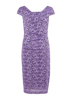 Lace ruched dress cap sleeve