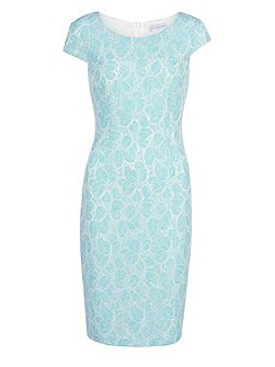 Corded linen lace dress with cap sleeve