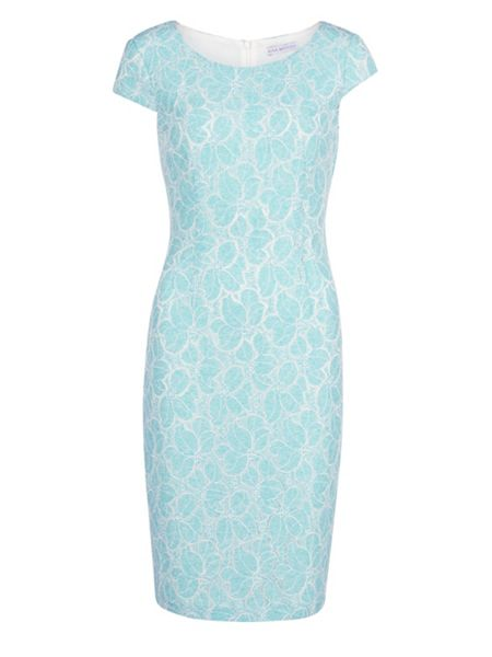 Gina Bacconi Corded linen lace dress with cap sleeve