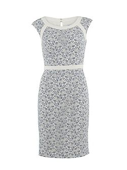 Chambray corded net dress with bands