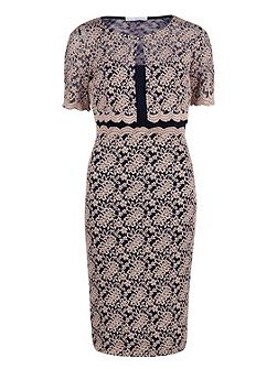 Navy pink scallop lace dress and jacket