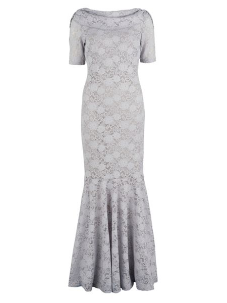 Gina Bacconi Lace fishtail dress with cowl neck
