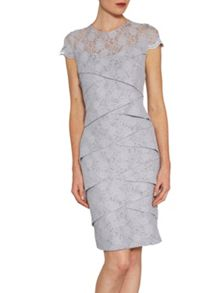 Stretch lace dress with scalloped sleeve