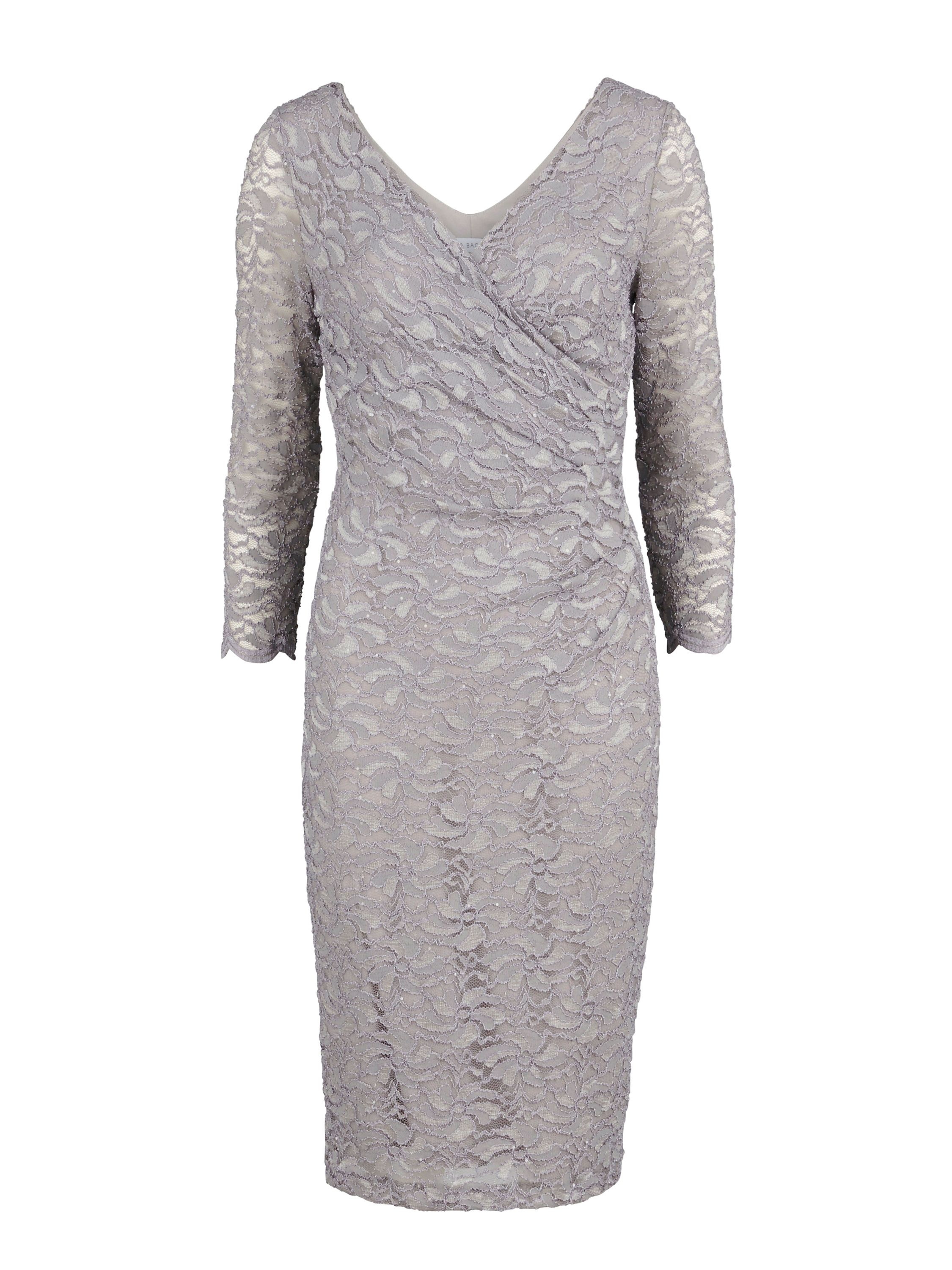 Gina Bacconi Antique corded lace wrap dress, Grey