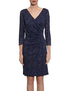 Gina Bacconi Antique corded lace wrap dress