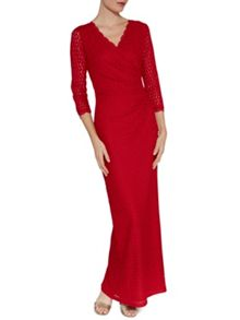 Gina Bacconi Long corded disc lace wrap dress