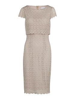 Layered corded disc lace dress