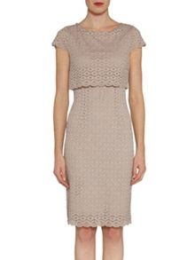Gina Bacconi Layered corded disc lace dress