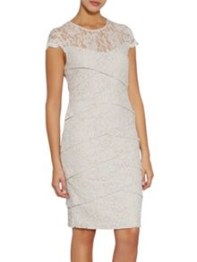 Gina Bacconi Corded dainty antique lace layered dress