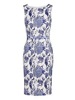 China blue jacquard dress and waist trim