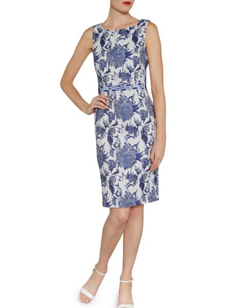 Gina Bacconi China blue jacquard dress and waist trim