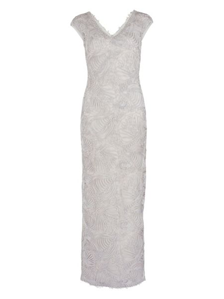 Gina Bacconi Long v neck braid embroidery net dress
