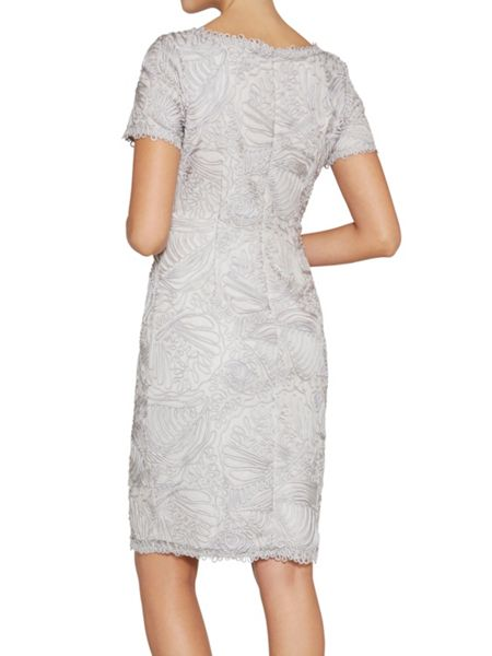 Gina Bacconi Short sleeve round neck embroidery dress