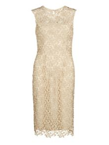 Gina Bacconi Metallic guipure dress
