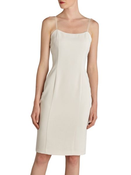 Gina Bacconi Metallic guipure overtop and crepe dress