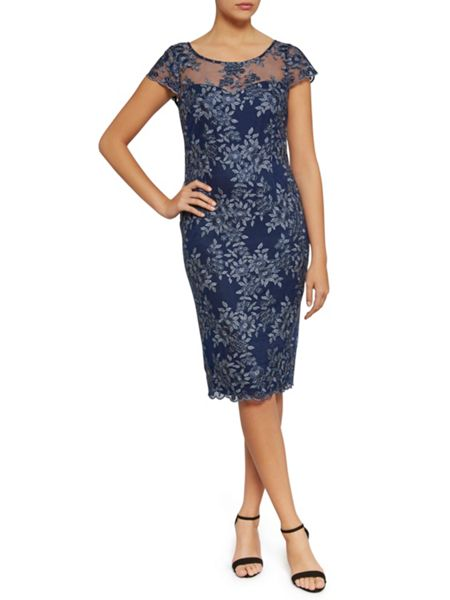Gina Bacconi Dainty floral tonal metallic net dress