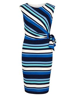 Metallic stripe jersey ruched dress