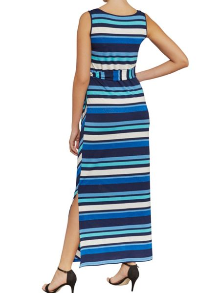 Gina Bacconi Multi metallic stripe jersey tie dress
