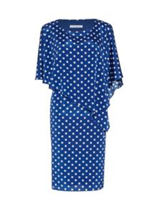 Spot chiffon dress with attached cape