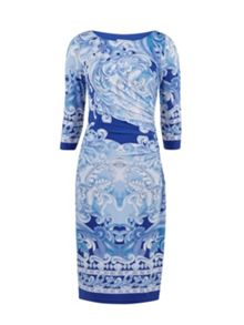 Gina Bacconi Panelled scroll jersey dress