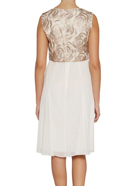Gina Bacconi Rose embroidery and chiffon dress