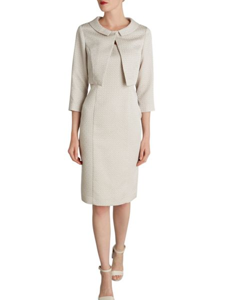 Gina Bacconi Bow jacquard dress and jacket