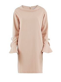 Stretch moss crepe dress ruffled sleeve