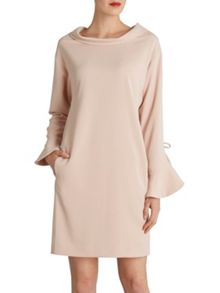 Gina Bacconi Stretch moss crepe dress ruffled sleeve