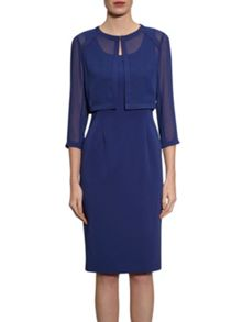 Gina Bacconi Crepe and chiffon jacket and crepe dress