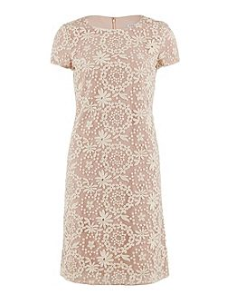 Daisy chain embroidered dress cap sleeve