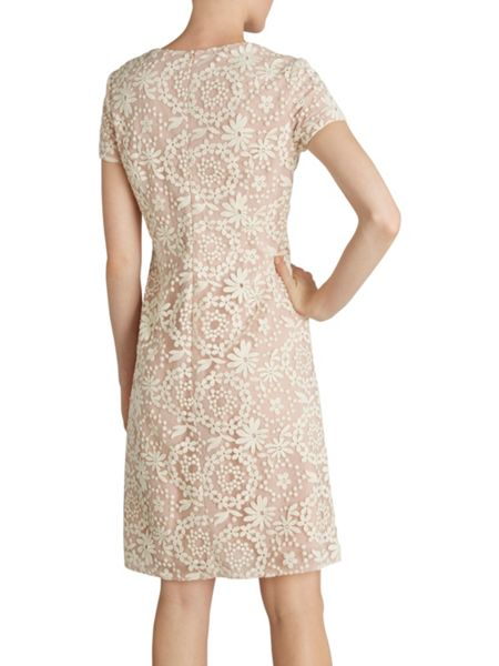 Gina Bacconi Daisy chain embroidered dress cap sleeve