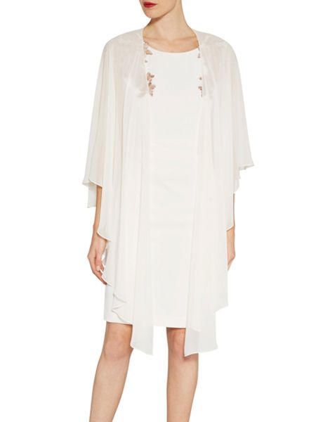 Gina Bacconi Crepe dress with guipure shoulder trim