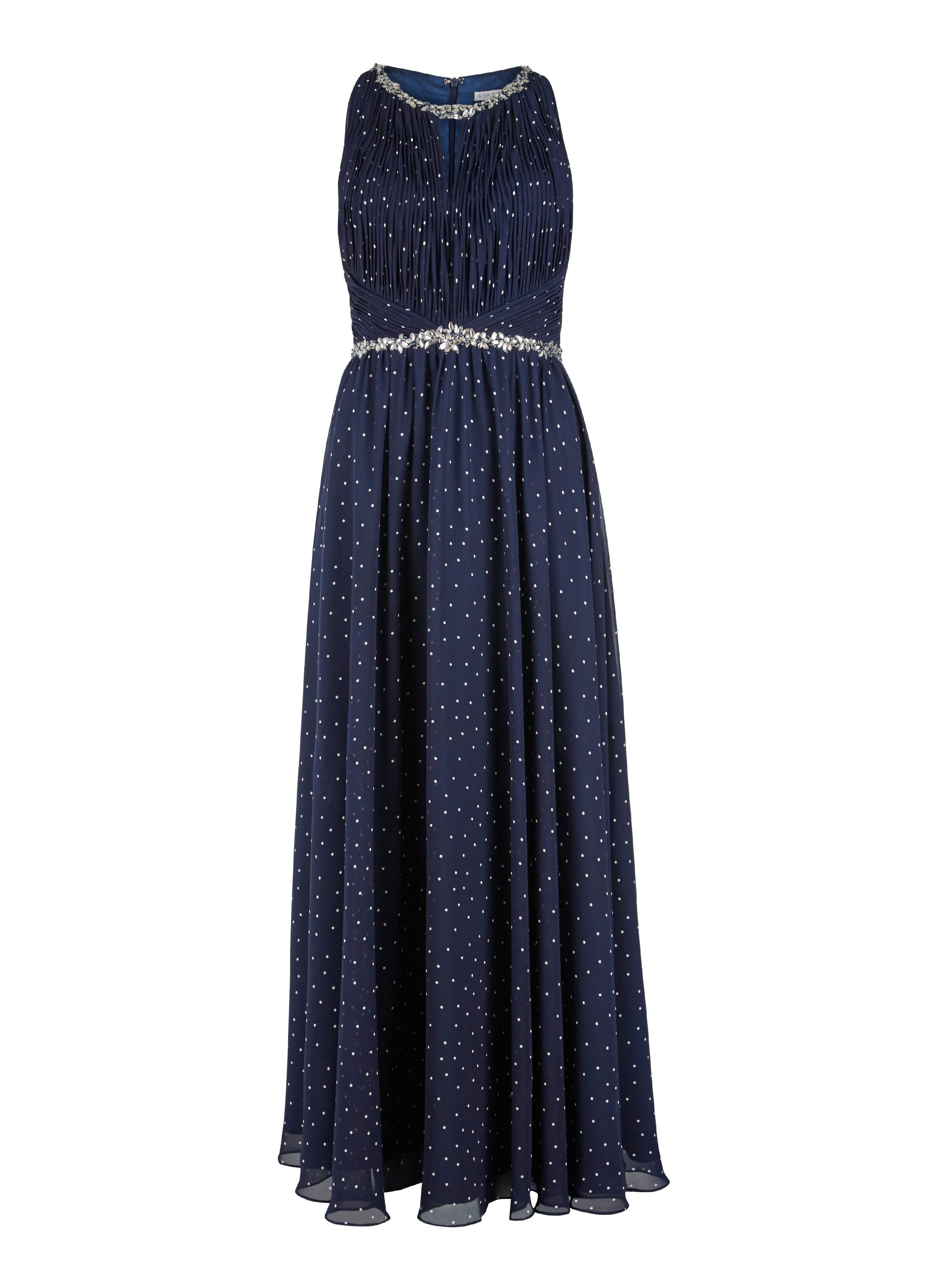 Gina Bacconi Long spotty dress, beaded waist and neck, Blue