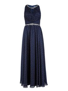 Gina Bacconi Long spotty dress, beaded waist and neck