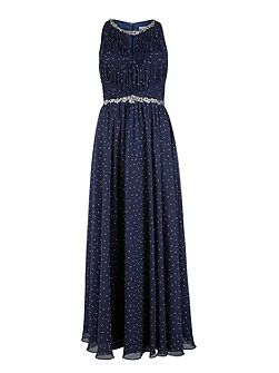 Long spotty dress, beaded waist and neck